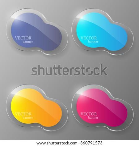 Glass banner set. Vector illustration. - stock vector