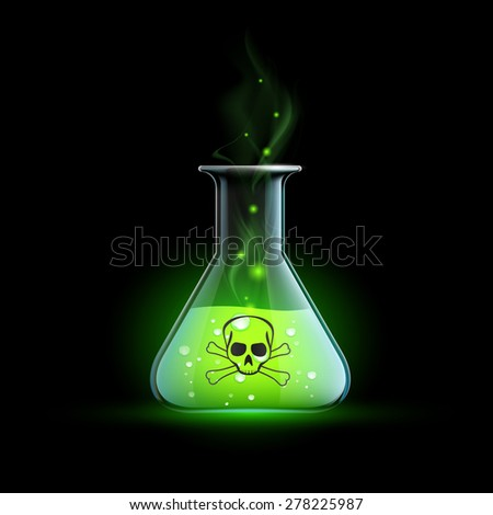 Glass beaker with a poisonous liquid. Vector Image. - stock vector