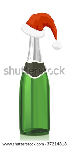 Glass bottle of classical Champagne wine and red hat of Santa Claus.Serie of images. You can find many various types of realistic vector illustrations of wine bottles in my portfolio