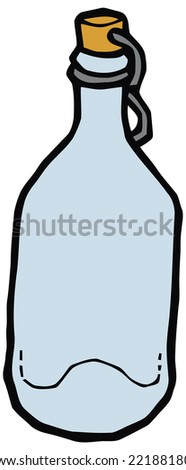 Glass bottle with cork vector drawing. Set of kitchen items - stock vector
