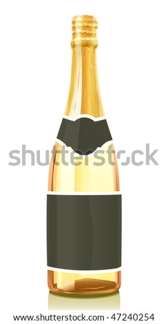 Glass bottle with gold Champagne wine and black label. Serie of images. You can find many various types of realistic vector illustrations of wine bottles in my portfolio.
