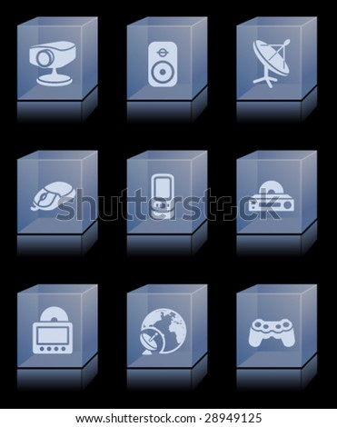 Glass bricks with icons 21 - stock vector