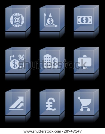 Glass bricks with icons 23 - stock vector