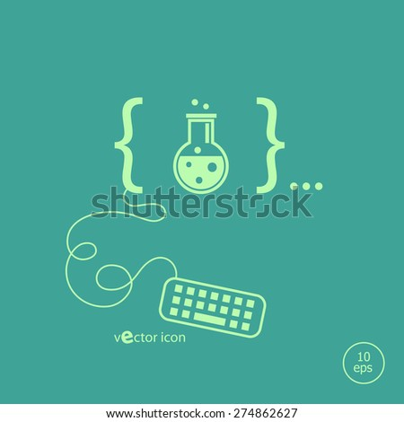 Glass bulb icon and flat design elements. Design concept icons for application development, web page coding and programming,  web design, creative process, social media, seo - stock vector