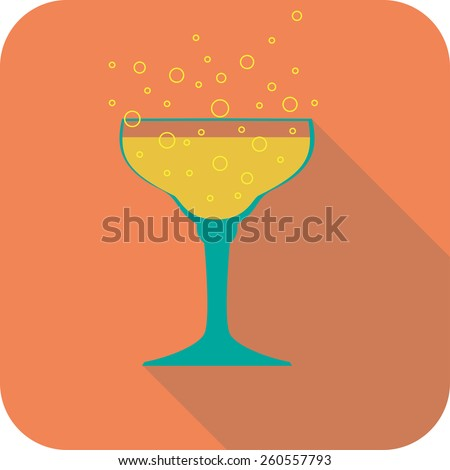 Glass champagne flat design stylized vector party drink icon, The best for your design, flyers, coasters, prints - stock vector