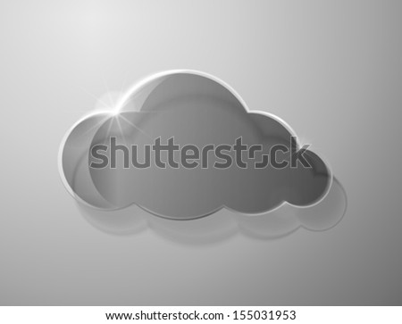 Glass cloud on gray background. Vector illustration - stock vector