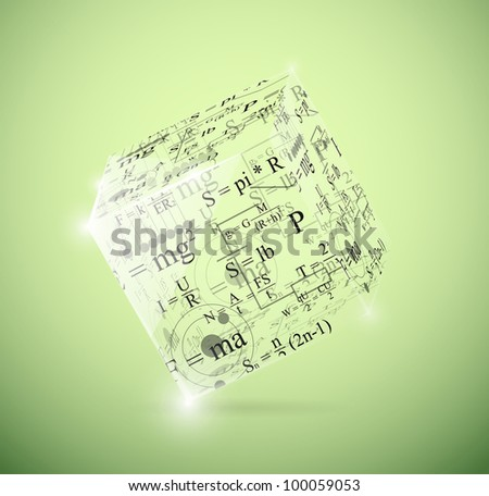 Glass cube with physical formulas. Eps 10 - stock vector