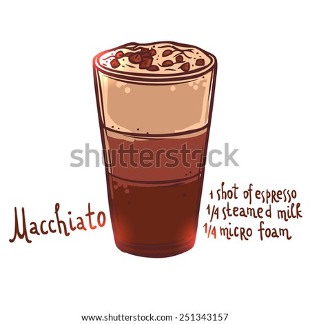 glass cup of Macchiato Coffee on white background with typography, hand drawn illustration - stock vector