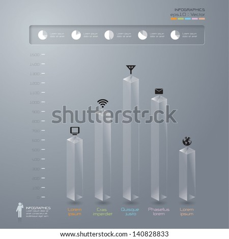 Glass 3D digital illustration Infographics. - stock vector