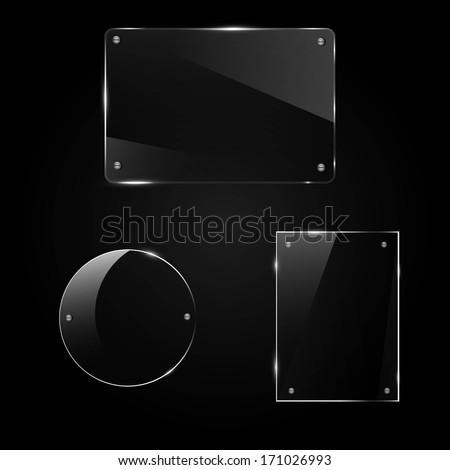 glass frame on a black background, vector illustration - stock vector