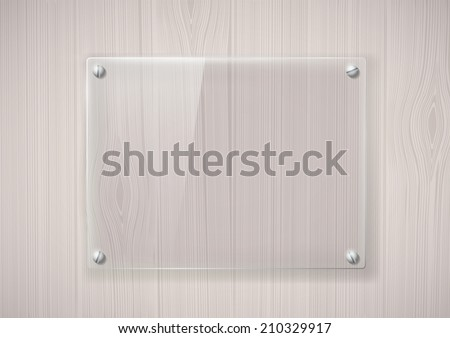 glass frame on a wooden surface - stock vector