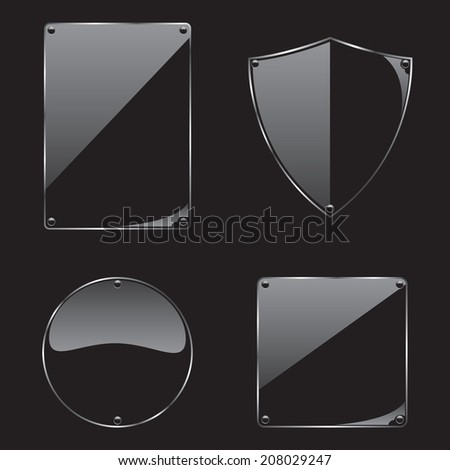 Glass frame on black background collection - stock vector