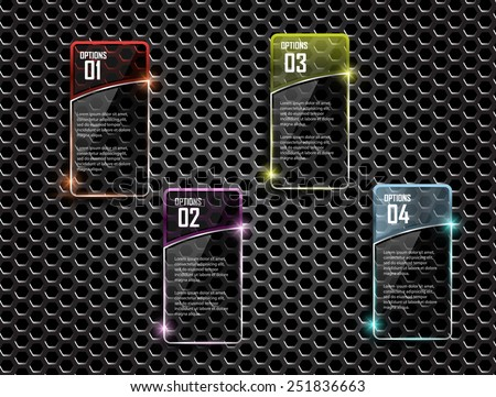 Glass framework on metal background,Vector design template - stock vector