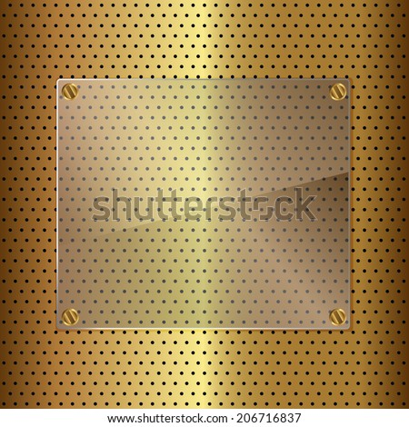 Glass framework on perforated gold background. Vector illustration - stock vector