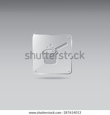 Glass framework with magic hat and wand  icon - stock vector