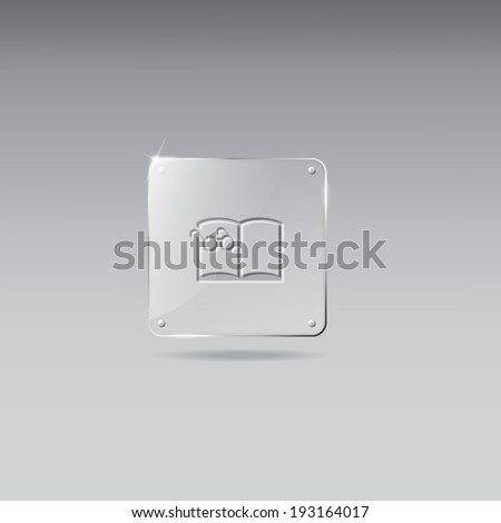 Glass framework with reading glasses on a book icon - stock vector