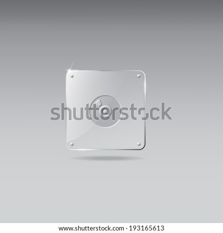 Glass framework with record icon - stock vector