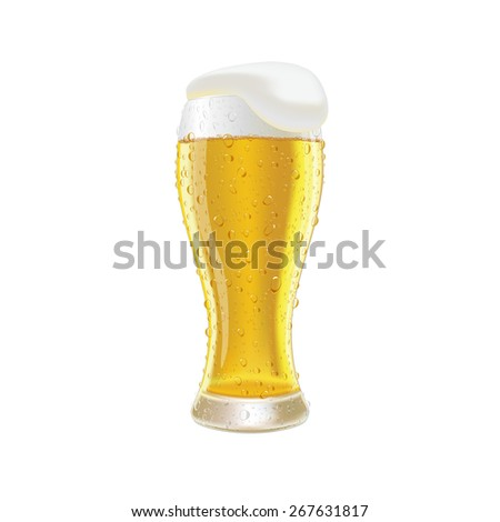 Glass fresh beer with cap of foam and water drop isolated on white background vector illustration  - stock vector