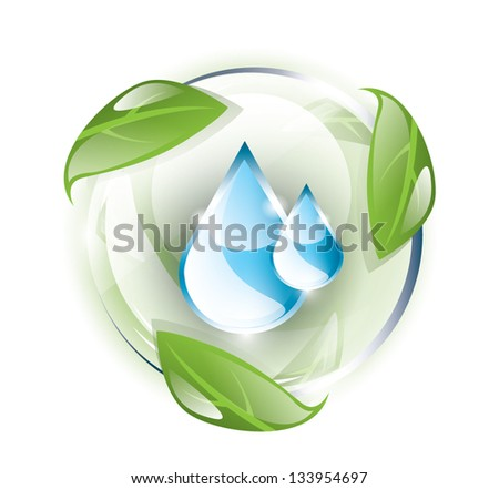 Glass globe with blue drops inside, recycle concept, EPS 10, isolated - stock vector