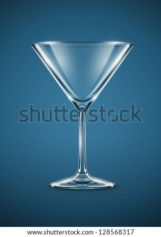 glass goblet for martini cocktails vector illustration EPS10. - stock vector