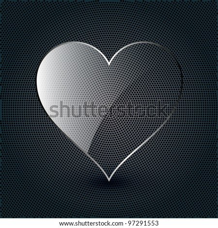glass heart on a metal background - stock vector