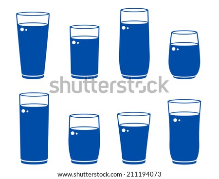 glass icons with beverage on white background - stock vector