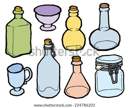 Glass jar and bottles with cork vector drawing. Set of kitchen items - stock vector