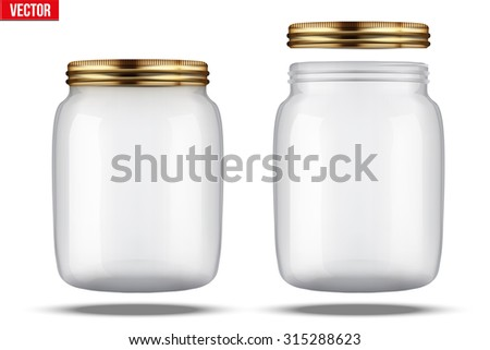 Glass Jars for canning and preserving. With cover and without lid. - stock vector