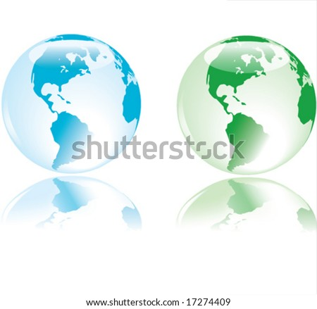 Glass like earth with delicate reflection, in colors representing the four elements - water, fire, land, air - stock vector