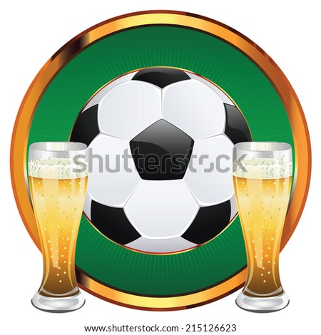 Glass of beer and soccer (football) ball illustration. - stock vector