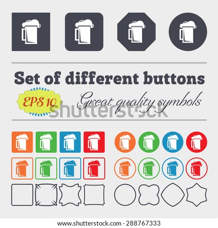 glass of beer icon sign. Big set of colorful, diverse, high-quality buttons. Vector illustration - stock vector