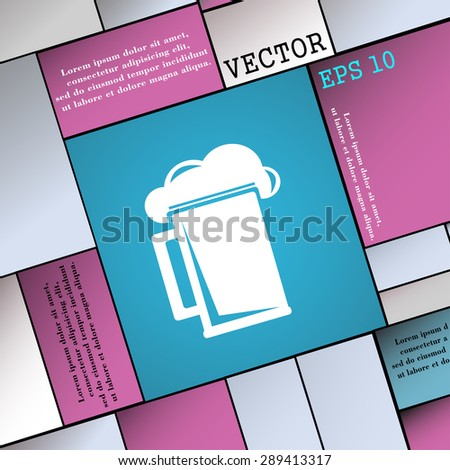 glass of beer icon sign. Modern flat style for your design. Vector illustration - stock vector