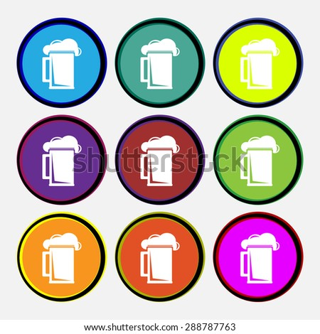 glass of beer icon sign. Nine multi colored round buttons. Vector illustration - stock vector