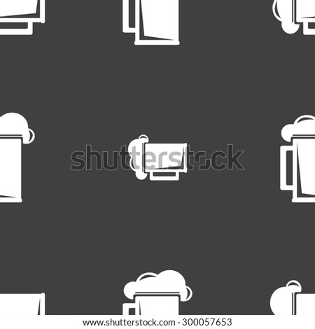 glass of beer icon sign. Seamless pattern on a gray background. Vector illustration - stock vector