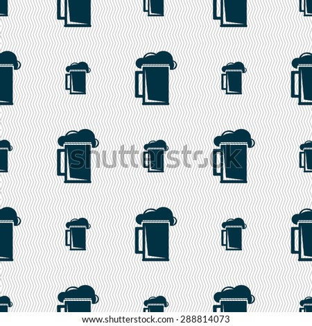glass of beer icon sign. Seamless pattern with geometric texture. Vector illustration - stock vector