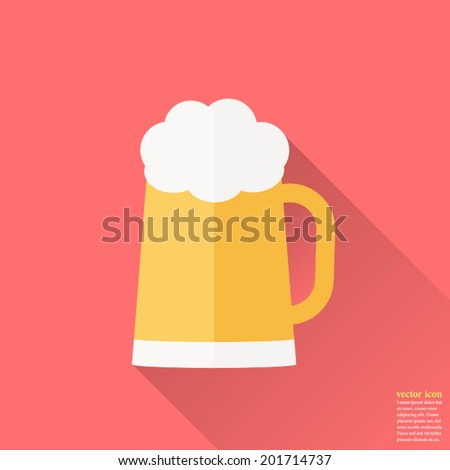 Glass of beer icon ,Vector illustration , flat design with long shadow - stock vector