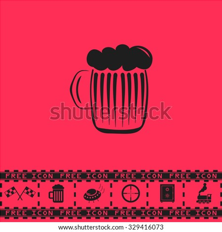 Glass of beer with foam. Black flat vector icon and bonus symbol - Racing flag, Beer mug, Ufo fly, Sniper sight, Safe, Train on pink background - stock vector