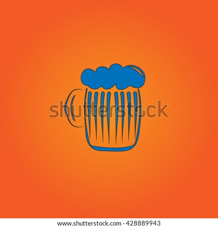 Glass of beer with foam. Blue flat icon with black stroke on orange background. Collection concept vector pictogram for infographic project and logo - stock vector