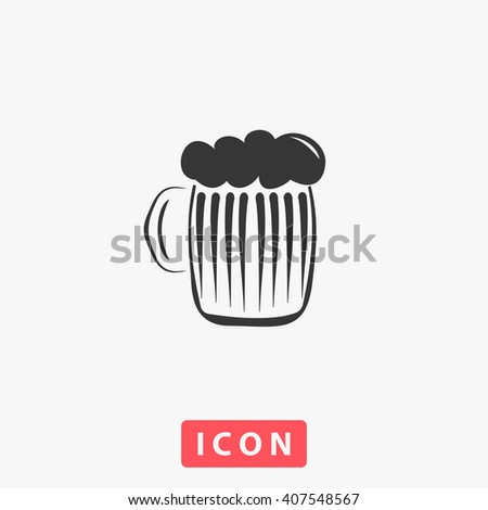 Glass of beer with foam. Grey flat simple icon - stock vector