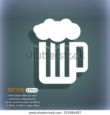 Glass of beer with foam icon. On the blue-green abstract background with shadow and space for your text. Vector illustration - stock vector