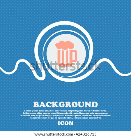 Glass of beer with foam icon sign. Blue and white abstract background flecked with space for text and your design. Vector illustration - stock vector