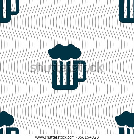 Glass of beer with foam icon sign. Seamless pattern with geometric texture. Vector illustration - stock vector
