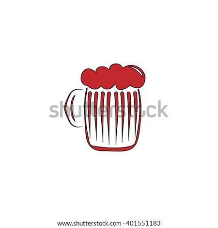 Glass of beer with foam. Red flat simple modern illustration icon with stroke. Collection concept vector pictogram for infographic project and logo - stock vector