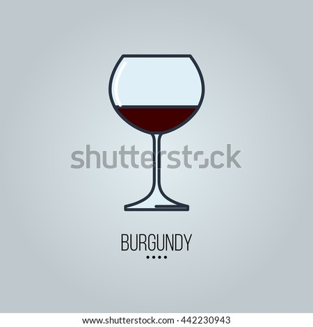 glass of burgundy wine icon - stock vector
