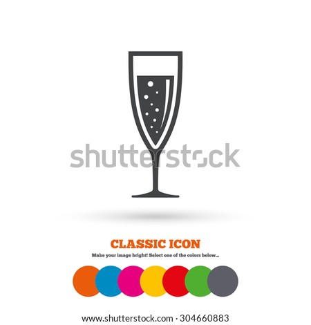 Glass of champagne sign icon. Sparkling wine with bubbles. Celebration or banquet alcohol drink symbol. Classic flat icon. Colored circles. Vector - stock vector
