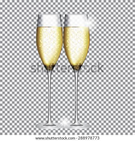 Glass of Champagne Vector Illustration EPS10 - stock vector
