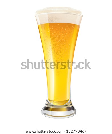 Glass of Cold Beer - stock vector