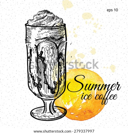 Glass of ice coffee. Hand drawn illustration. - stock vector