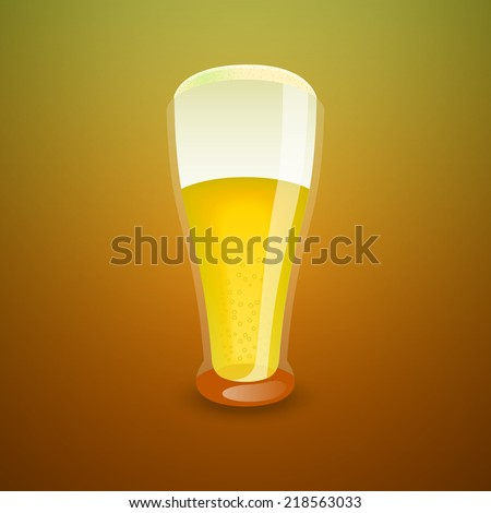 Glass of light beer, vector illustration - stock vector