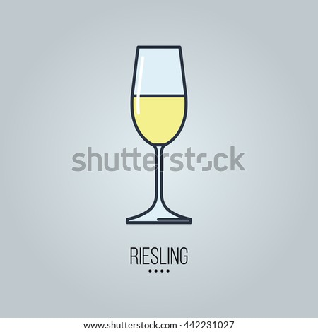 glass of  riesling wine icon - stock vector